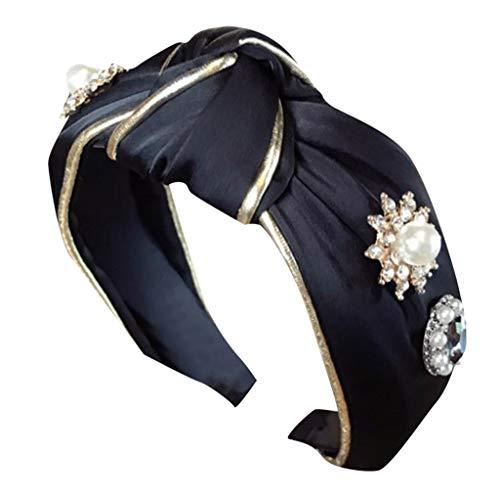 LARNOR Wide Headbands Knot Turban Headband Elegant Diamond Headbands for Women