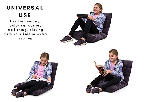 BIRDROCK HOME Adjustable 14-Position Memory Foam Floor Chair - Pillow Gaming Chair - Comfortable Back Support - Cushion Dorm Rocker - Comfy for Reading Game Meditating - Fully Assembled - Eggplant
