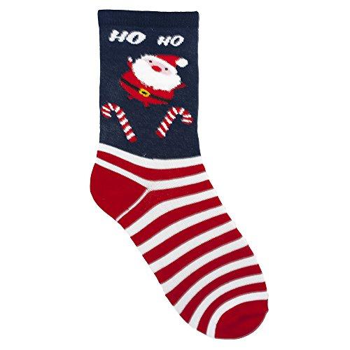 Rjm Damen Weihnachtes-Socken Gr. Einheitsgröße, Blue Santa