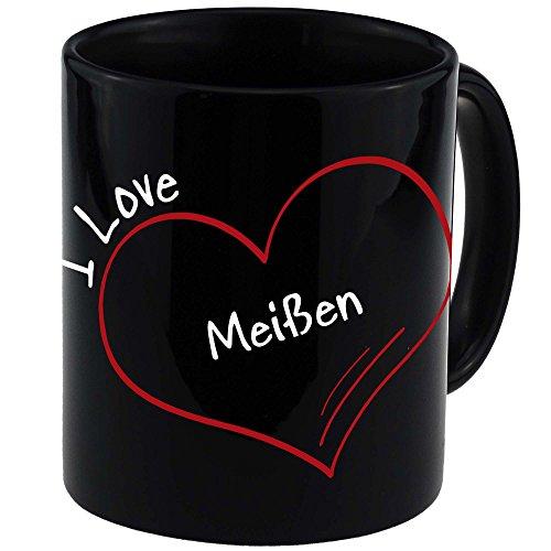 Tasse Modern I Love Meißen schwarz