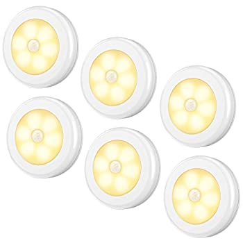 AMIR Upgraded Motion Sensor Light Cordless Battery-Powered LED Night Light Stick-Anywhere Closet Lights Stair Lights Safe Lights for Hallway Bathroom Bedroom Kitchen  Warm White - Pack of 6