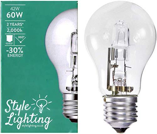 5 x Style Lighting Lampadina Alogena a Risparmio Energetico Super Brillante 42 W Corrispondenti a 60 W Attacco Grande ES E27