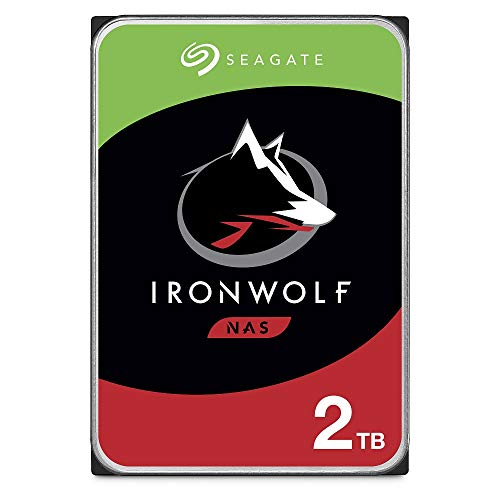 Seagate IronWolf 2 TB HDD, NAS interne Festplatte (8,9 cm (3,5 Zoll), 5900 U/Min, CMR, 64 MB Cache, SATA 6 GB/s, silber), Modellnr.: ST2000VN004