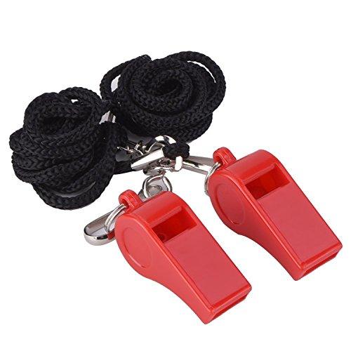 2 Piezas de Silbatos Plásticos de Entrenador Silbatos para Deportes Silbatos para Arbitro con Correa (Rojo)