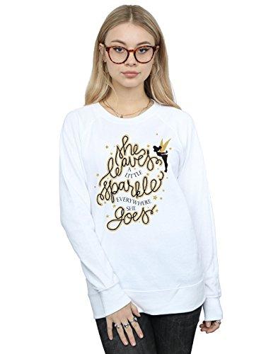 Disney Damen Tinkerbell Stars Sweatshirt Large Weiß