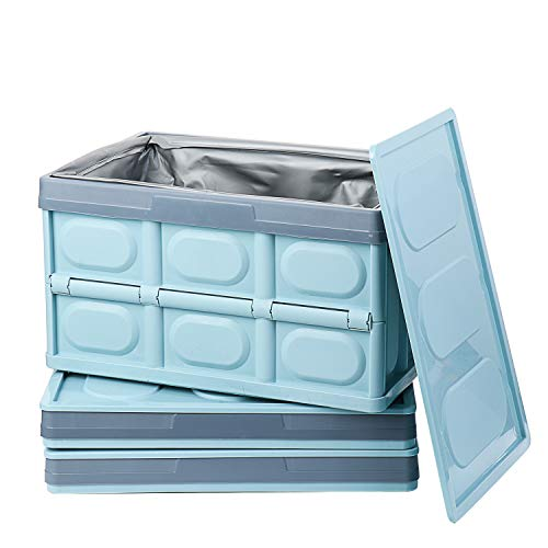 Lidded Collapsible Storage Bins 3Pack with Lids and Waterproof Bag 55L Plastic Folding Storage Crate Utility Crates Solid Wall Stackable Bins Containers For Home Car Trunk Blue L