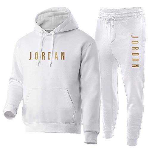 Trainingsanzug Set Herren,Jungen Jordan Sportanzug Hoody Sweatshirt Und Sweatpants,Comfy 2 Piece Outfit Set Hoodies Und Hosen White-M