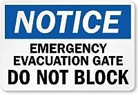 2個 緊急避難ゲート-ブロックしないでください、金属製の看板、金属製の看板、8 'x 12'
