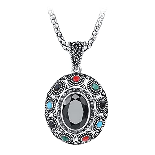 Joyería Vintage Collar colgante negro de la vendimia para las mujeres Antiguo Color de plata étnico gran óvalado óvalo collar de cristal joyas ( Length : 53CM , Metal Color : Antique Silver Plated )