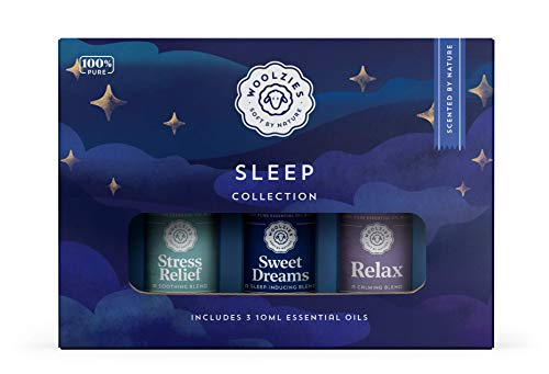 Woolzies Sleep Collection Essential Oil Blend Set | Incl. Sweet Dreams, Relax, & Stress Relief Oils | Helps Sleeping Faster, Better & Restful| Reliefs Stress