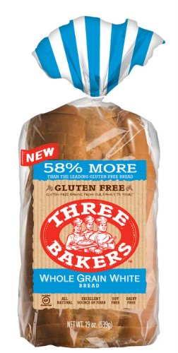 Three Bakers Gluten Free Whole Grain White Sandwitch Bread (Pack of 3) 19oz