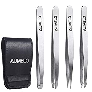 Tweezers Set 4-Piece Professional Stainless Steel Tweezers with Travel Case by Aumelo