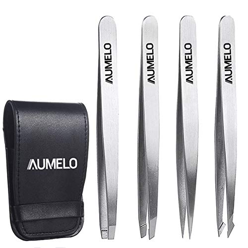 Tweezers Set 4-Piece Professional Stainless Steel Tweezers Gift with Travel Case by Aumelo - Best Precision Eyebrow and Splinter Ingrown Hair Removal Tweezer Tip,No Colored & Chemical Free