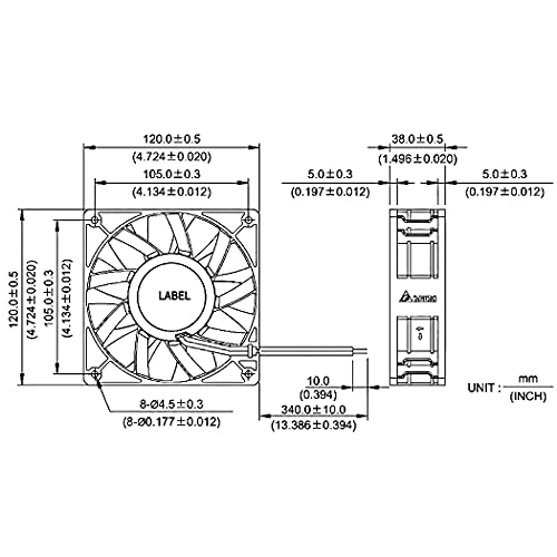 Wathai 12038 120mm x 38mm Computer PC Case Fans 5300rpm High Airflow 12V 4pin PWM FG DC Brushless Cooling Fan
