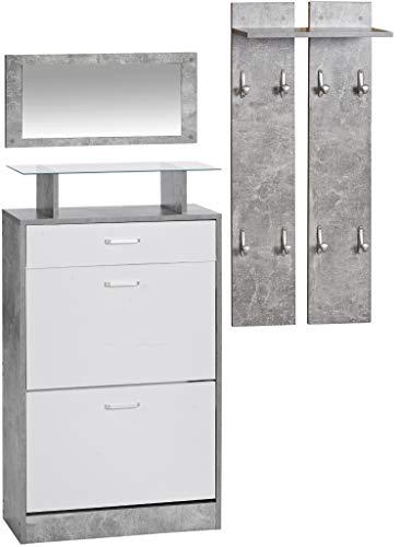 ts-ideen 3er Set Garderobe Spiegel Schuhkipper in Betonoptik Weiß Grau Schuhschrank mit Schublade und Ablagefläche aus Glas