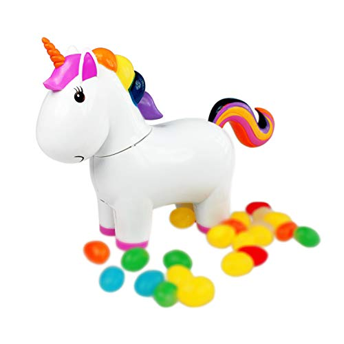 Monsterzeug Einhorn als Spender für Süßigkeiten, Einhornfigur kackt Jelly Beans, Süßigkeitenautomat für zuhause, Kleines Einhorn spendet Bonbons, Pooping Unicorn