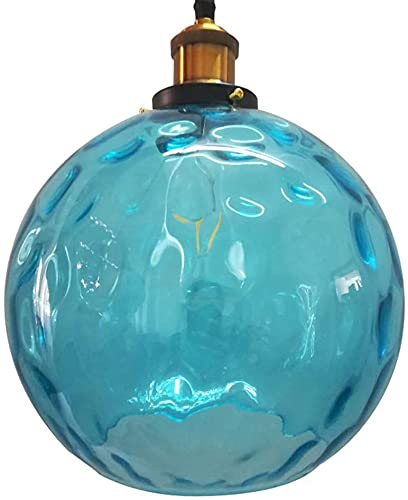Techo Colgante Colgante iluminación Agua ondulación Retro Industrial Bola Vidrio Techo luz Accesorio Accesorio Azul Color luz Sombra Ajustable Edison e27 lámparas Colgantes 3 tamaños (Size : 25cm)