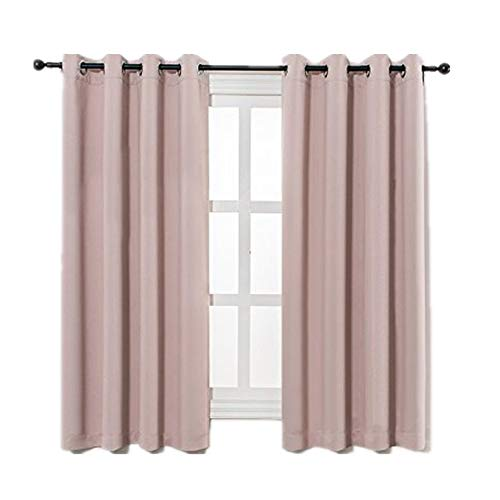 MANGATA CASA Bedroom Blackout Curtains Grommets 2 Panels,Thermal Window Curtain Drapes for Living Room Darking Drapes (Pink,52x63inch)