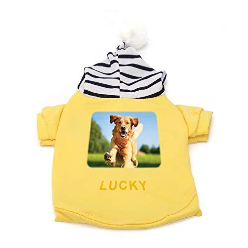 Ropa personalizada con capucha para perro, cachorro de mascota gato lindo algodón cálido sudaderas abrigo suéter, texto personalizado/imagen (amarillo)