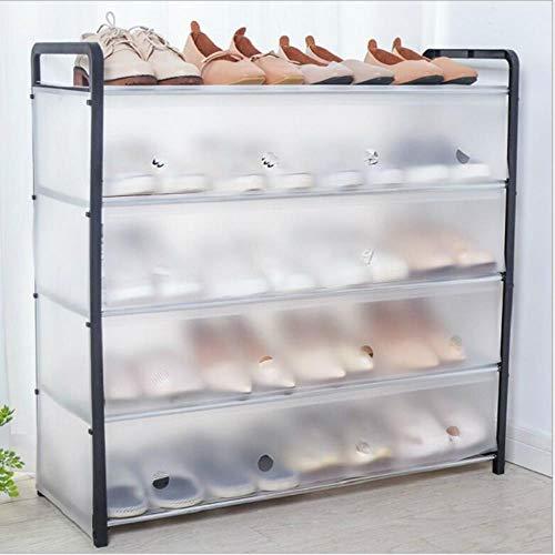 Conjunto de tubo de acero multicapa a prueba de polvo zapato arca espacio de almacenamiento - ahorro zapatero marco de almacenamiento simple largo 5 capas, tubo de acero blanco