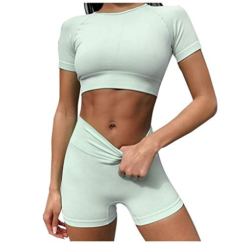 Fantastic Prices! FD Izmn Womens Sexy Tops+Pants Solid Short Yoga Tracksuit Crop Vest High Waist Sho...