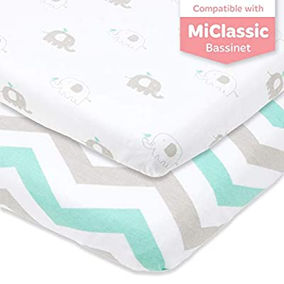 Bassinet Fitted Sheets Compatible with MiClassic Bassinet – Fits 20 x 35 Bedside Sleeper Mattress Perfectly – No-Bunching – Snuggly Soft Breathable Jersey Cotton –Grey, Mint –2 Pack