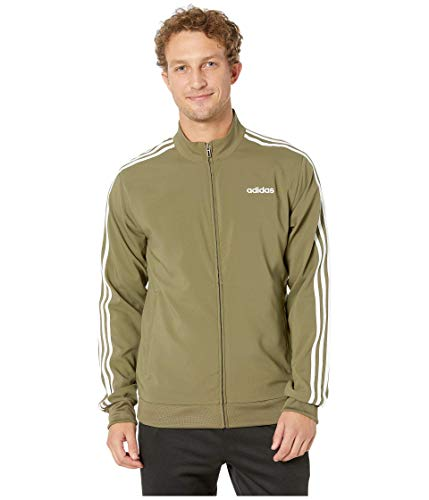 adidas Men's Essentials 3-Stripes Woven Track Jacket, Raw Khaki/White, Large