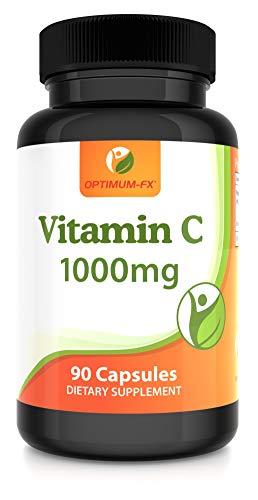 Vitamine C 1000 mg Capsules - Ascorbinezuur - Onderhoud van Normaal Immuunsysteem 90 Vegetarische Capsules