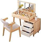 Escritorio de maquillaje con cajones para dormitorio, dormitorio de madera, escritorio de maquillaje, tocador, escritorio con cajones, gran capacidad de almacenamiento, tocador con espejo abatible par