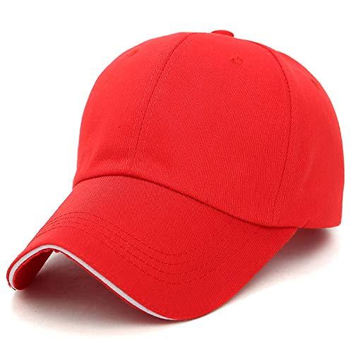 kyprx Visera Transpirable Visera Gorra de béisbol Cuerpo Ligero Moda Salvaje Gorra de béisbol Multicolor Opcional para mapear Rojo Grande
