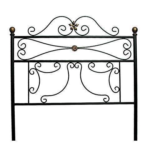 Cabecero de forja Dibujos - Negro, Cabecero para colchón de 135 cm