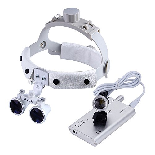 Zgood Dental White LED Head Light + Dental Surgical Glasses Binocular Loupes DY-108 3.5X-R