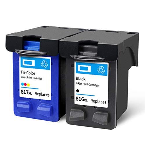 Cartucho de tinta 816 817, repuesto para impresoras HP Deskjet 3938 2238 F388 F2288 Officejet 4308 Photosmart 7260 PSC 1110, color negro y negro