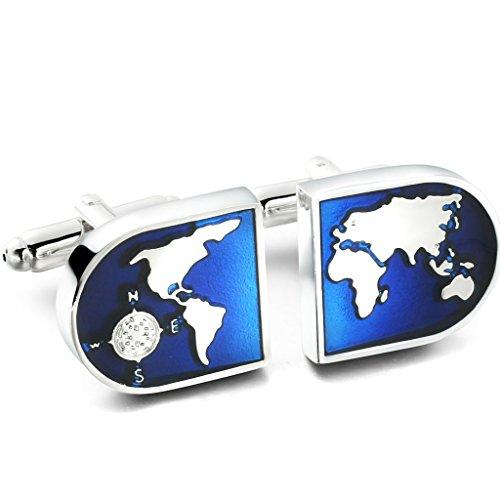 Jstyle Messing Manschettenknöpfe Herrenmanschettenknopfe Weltkarte Globus Hemd Für Hochzeit Wedding Herren Blau Silberfarbene 2pcs ein Paar Set