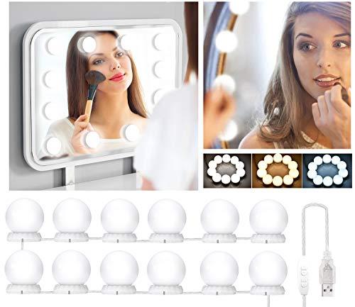 Luci da Specchio per Trucco, Luci Make Up 12 LED Lampadine Hollywood Dimmerabili a Specchio Cosmetico Lampada Postazione Trucco Professionale per bagno, camera da letto, desktop, da tavolo