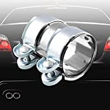 Ruien 2 inch Hardware Exhaust Clamp, Lap Joint+Bolts Band Flanges Clamp Stainless Steel Universal Compatible with Muffler Downpipe Catback Pipe Connector