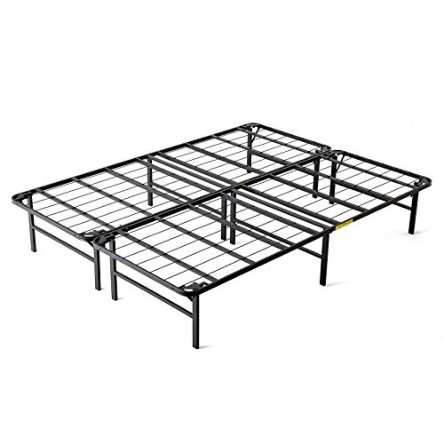 intelliBASE Lightweight Easy Set Up Bi-Fold Platform Metal Bed Frame, Full