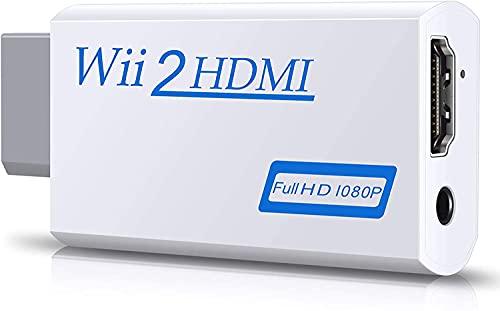 TFR Wii a HDMI Adaptador, GANA Wii a HDMI convertidor Conector con Salida de vídeo de 1080p/720p y 3,5 mm Audio - Soporta Todos los Modos de visualización de Wii- Blanco