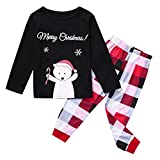 Pijama Familia Navidad Set Niños Disfraz Paternidad Top y Pantalones Navidad Muñeco de Nieve Impresión de Letras T Shirt Vestidos Niña Negro 120 cm(5-6 Años)