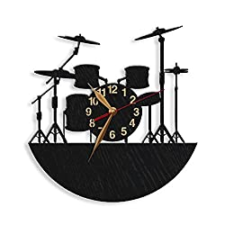 monastar Musical Instruments Wall Clock -Select Size, Personalized- Drum Wooden Clock Musician's Modern Personalized Drummer Gift Wall Art Décor