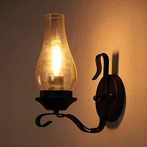 Mkj Moderne wandlampen, bedlampen, ganglampen, Chinese wandlampen, creatieve bedlamp, retro, wind, industrie, enkele kop, lantaarn van smeedijzer 19402
