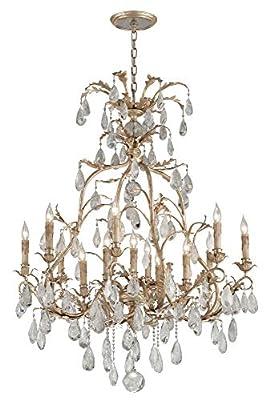 Corbett Lighting 210-013 Vivaldi 13 Light Chandelier with Italian Drops, Venetian Leaf