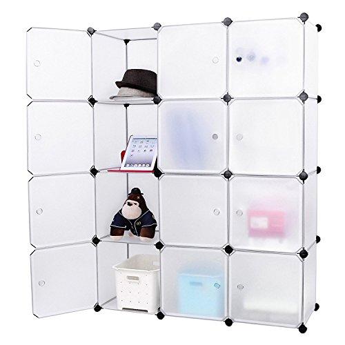 EGLEMTEK Mobile modulare Quadrato 12 Scomparti Cubo Armadio Armadietto Guardaroba Scaffale Scarpiera Mobiletto da Bagno (112 x 37 x 148 cm) (Bianco)