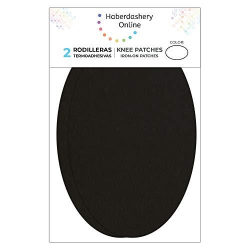 2 rodilleras de Ante color Negro termoadhesivas para planchar. Coderas para proteger tu ropa y reparación de pantalones, chaquetas, jerseys, camisas. 16 x 10 cm. Ref. 93 Negro