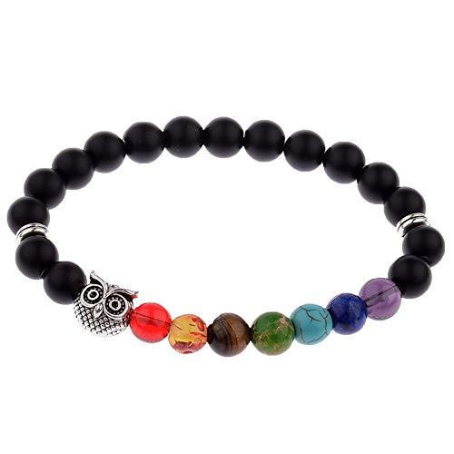 7 Chakra Steine Armbänder,Natürliches Silber Eule Armbanden Yoga Heilung Reiki Balance Perlen Perlen Relief Angst Kristalle Armreifen Energie Öl Diffusor, Mode Personalisierte Handgemachten Charme