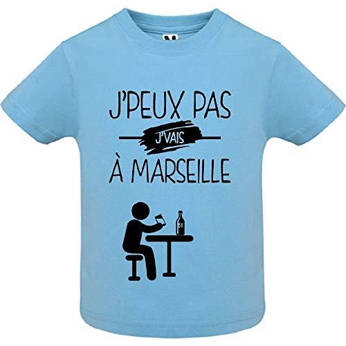 LookMyKase T-Shirt - J Peux Pas j Vais a Marseille - Bébé Garçon - Bleu - 18mois