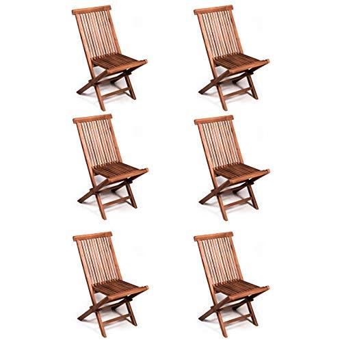 San Marco Set 6 sedie Pieghevoli in Teak per Tavolo da Esterno