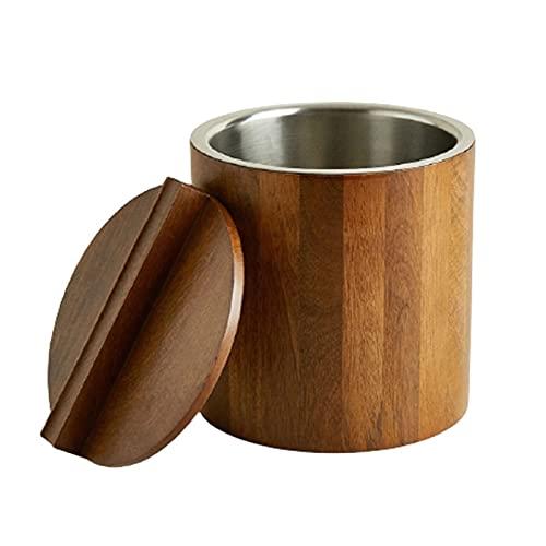 MENGGE - Secchiello per il ghiaccio in legno con coperchio, interno in acciaio inox, per vino e champagne, per casa, ristorante, birra, ghiaccio, 18 x 20,5 x 18 cm, isolato (colore: A)