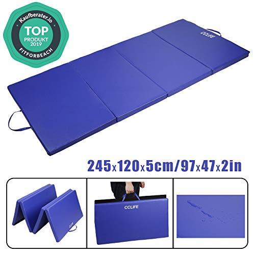 CCLIFE Colchoneta Plegable de Gimnasia Mat Colchoneta Yoga Colchoneta Deportiva Yoga estrilla 4 Pliegues 245/120/5 cm, Color:Azul