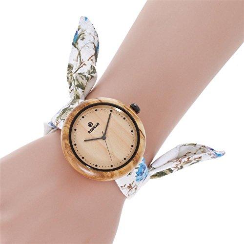 GLEMFOX olijfhout dameshorloge natuurlijk houten horloge analoog kwartsuurwerk fashion canvas strap dameshorloge casual geschenkdoos